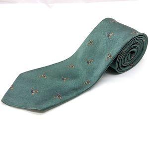 VTG Robert Talbott Green Ducks Pattern Silk Tie